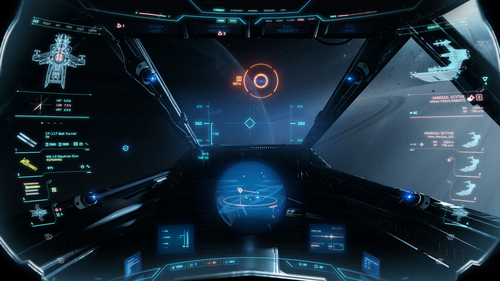 Concept of the Hornet's HUD and information panels created by Zane Bien and is used as the basis for the HUD's creation
