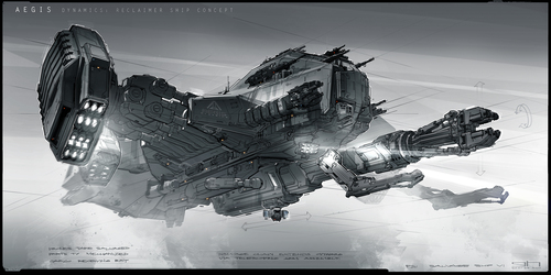 Reclaimer Concept Art showing the claw in use.