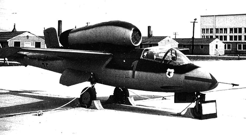 Captured He-162 undergoing tests
